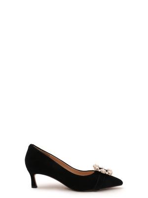 Buckle Point Suede heels W/Box