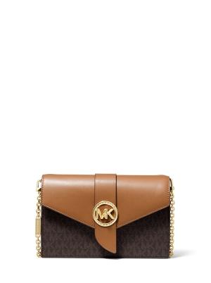 Medium Logo and Leather Convertible Crossbody Bag