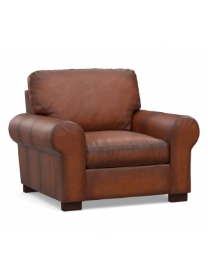 Turner Roll Arm Leather Small Armchair