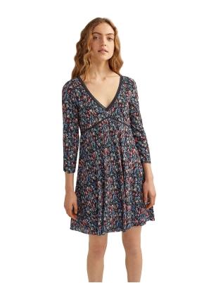 Printed Flounced Short Dress