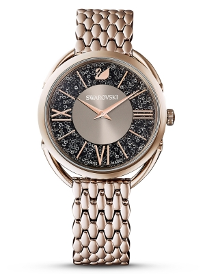 Crystalline Glam Watch, Metal bracelet, Gray, Champagne-gold tone PVD