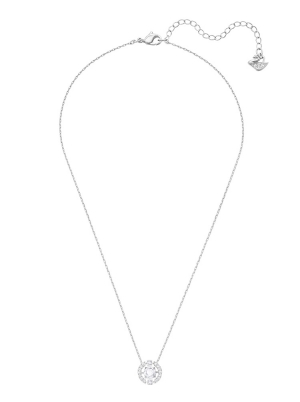 Swarovski Sparkling Dance Round Necklace, White, Rhodium plated