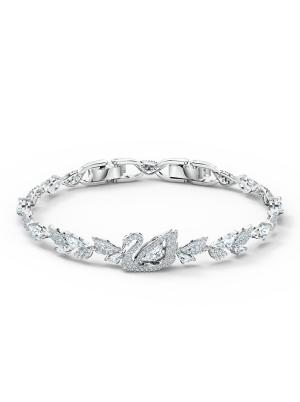 Dancing Swan Bracelet, White, Rhodium plated