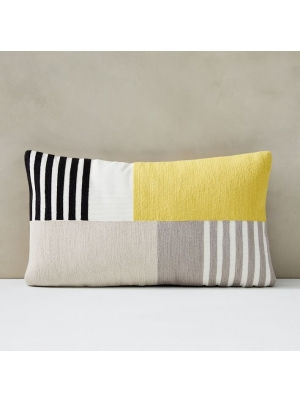 Corded Striped Blocks Pillow Cover