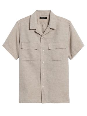 Slim-Fit Linen-Cotton Camp Shirt