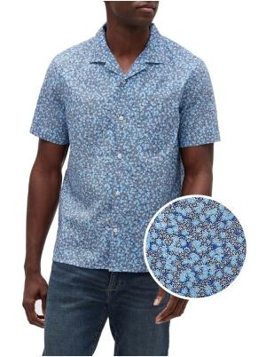 Print Collar Shirt in Poplin