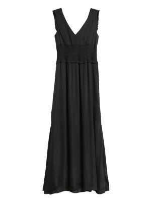 Petite Satin Smocked Maxi Dress