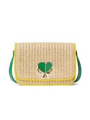 nicola raffia twistlock medium shoulder bag green multi
