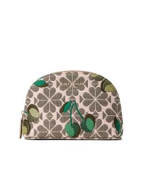 cherry spade flower jacquard small dome cosmetic case green multi