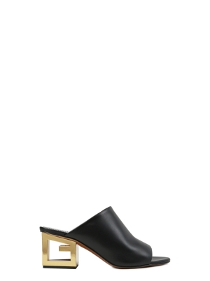 Mules in Leather with Triangular G Heel