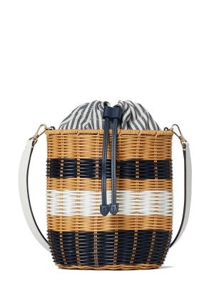buoy wicker medium bucket bag blue multi