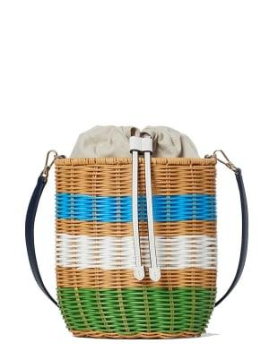 buoy wicker medium bucket bag green multi