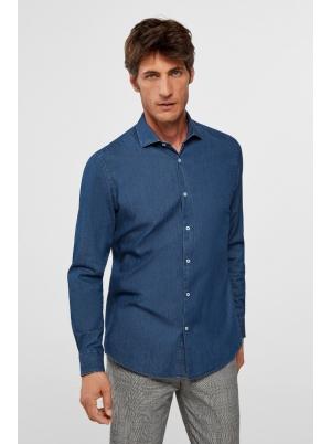 Slim denim dress shirt