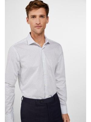 Slim printed dress shirt