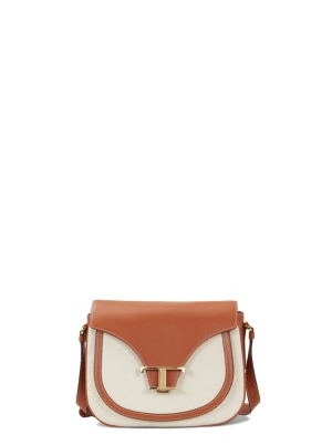 CROSSBODY IN LEATHER AND CANVAS MINI
