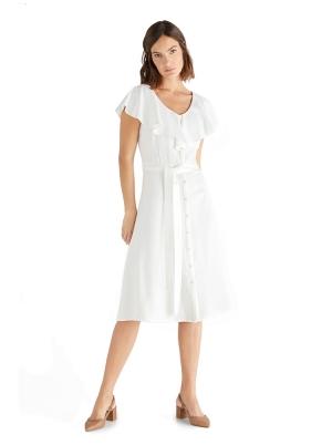 Flounced neckline dress