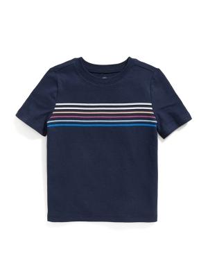 Chest-Stripe Crew-Neck Tee for Toddler Boys