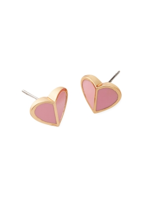 heritage spade small heart studs rococo pink