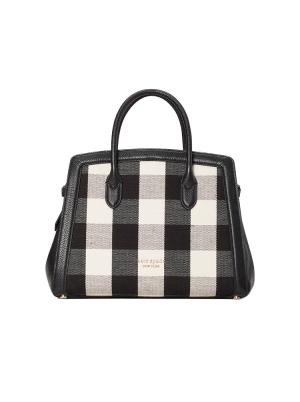 knott gingham medium satchel black multi