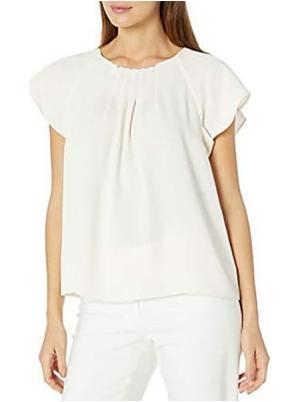 Pleat Front Short Sleeve Blouse