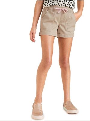 Functional-Drawstring Cuffed Shorts for Girls