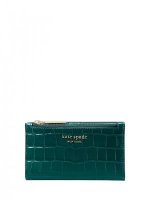 spencer croc-embossed leather small slim bifold wallet dark deep jasper