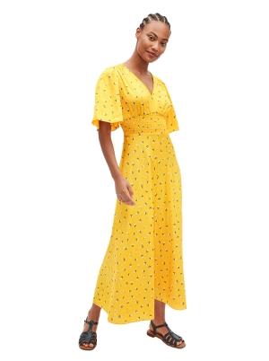 dainty bloom satin dress marigold
