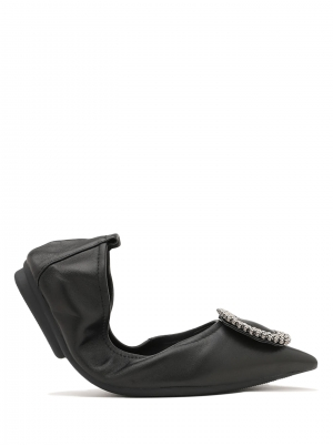 Diamante Buckle Pointed Leather Foldable Flats