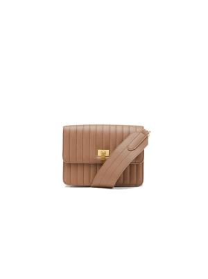 Quilted Effect Leather Crossbody Shoulder Bag