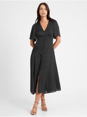 Petite Satin Flutter-Sleeve Midi Dress