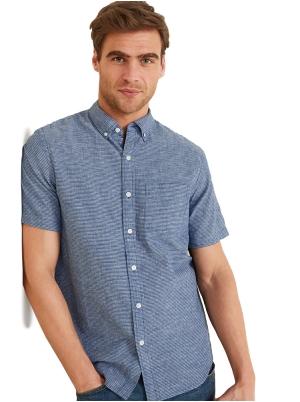 Relaxed-Fit Striped Linen-Blend Short-Sleeve Shirt for Men
