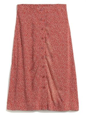 Soft-Woven Button-Front Midi Skirt for Women