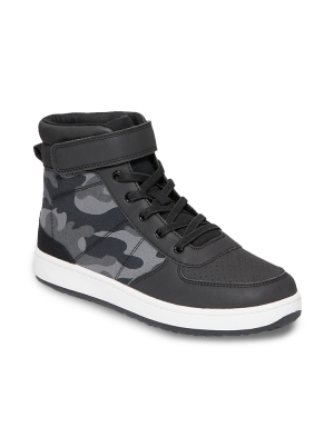 Camo Secure-Close Strap High-Top Sneakers for Boys