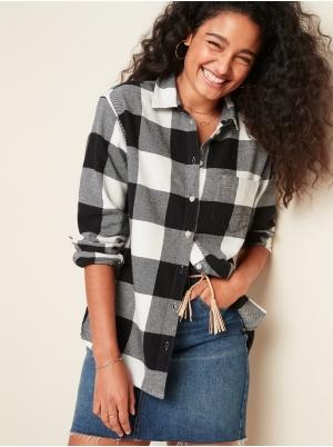 Plaid Flannel Boyfriend Shirt for Women