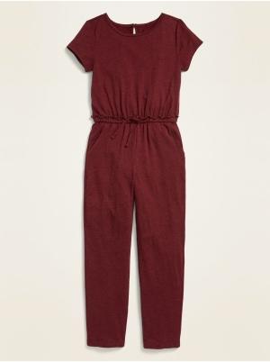 Slub-Knit Short-Sleeve Jumpsuit for Girls