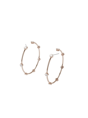 Constella hoop earrings, White, Rose-gold tone plated