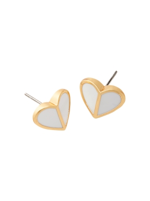 heritage spade small heart studs white