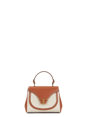 HANDBAG IN LEATHER AND CANVAS MINI