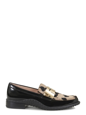 LOAFERS IN PATENT LEATHER & PONY SKIN EFFECT LEATHER
